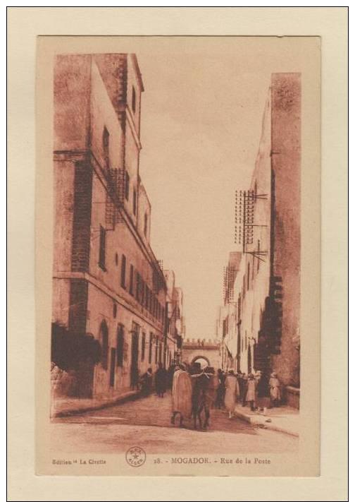D51588 Postcard Mogador, Rue De La Poste, Edition La Civette, E.P.A. Alger, Red Tinted, Unused - Tanger