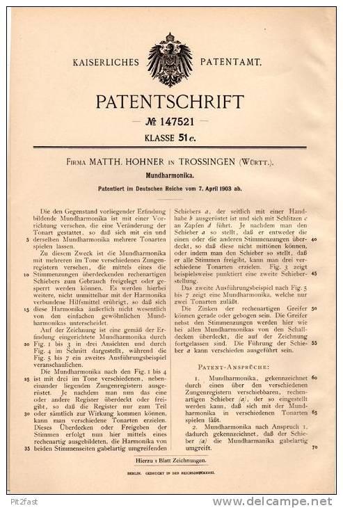 Original Patentschrift - Fa. M. Hohner In Trossingen , 1903 , Mundharmonika !!! - Musikinstrumente