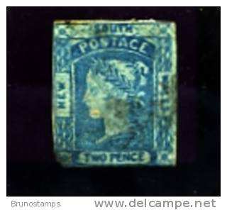 AUSTRALIA/NEW SOUTH WALES - 1851 2d. PRUSSIAN BLUE  THIN BOTTOM LEFT  F/U - Oblitérés