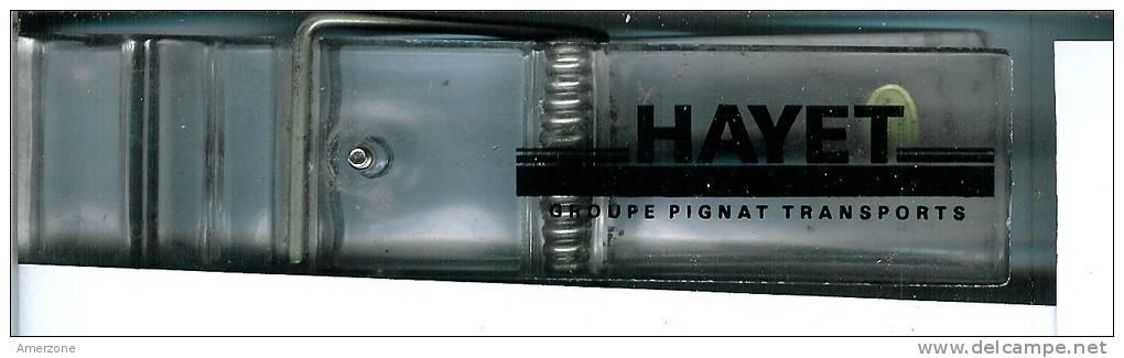 """LIQUIDATION.......OBJET PUBLICITAIRE  PINCE DE BUREAU  """"hayet"""" Groupe Pignat Transports  NEUVE PLEXIGLASS - Publicité"""