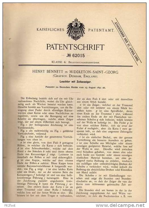 Original Patentschrift - H. Bennett In Middleton Saint Georg , 1891 , Leuchter Mit Uhr , Zeitanzeiger , Clock !!! - Jewels & Clocks