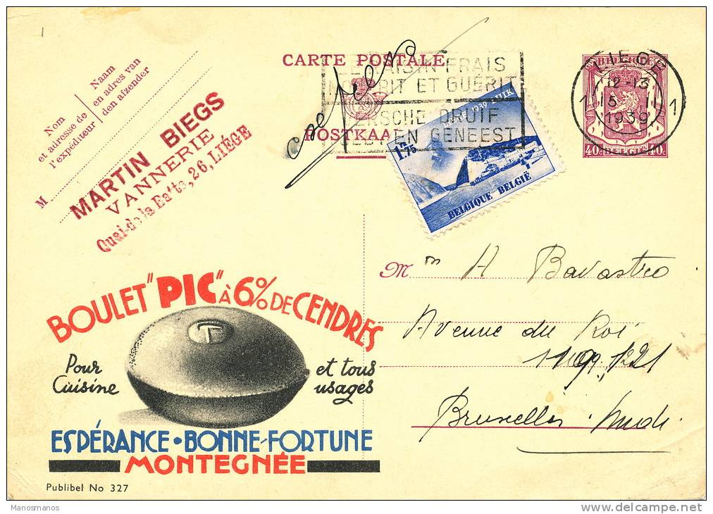 535/19 -  Entier Publibel EXPRES Sceau Etat + TP Expo 39 LIEGE 1939 Vers BXL - Thème Charbonnages - Stamped Stationery