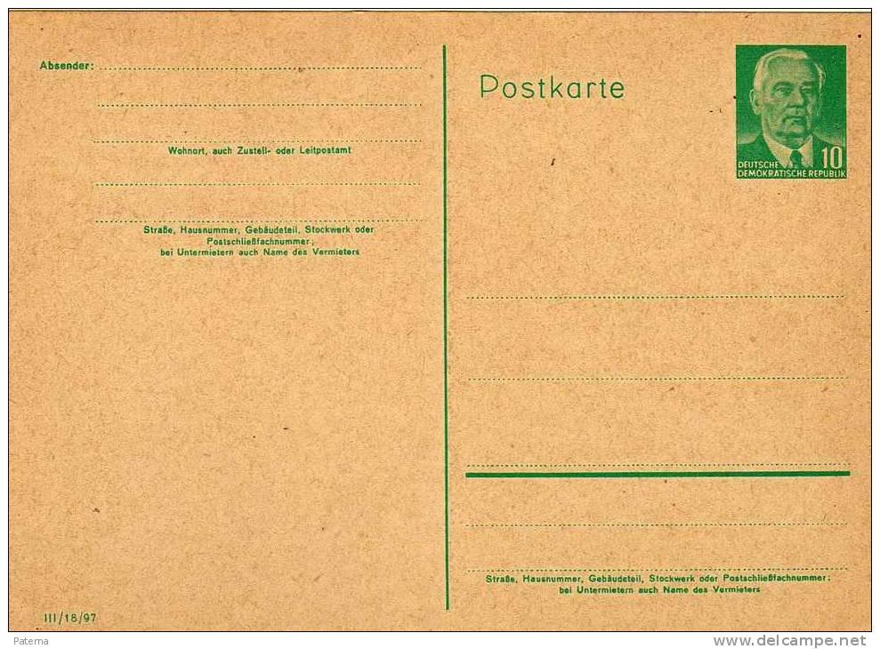 Entero Postal DDR Alemania 10pf - [6] República Democrática