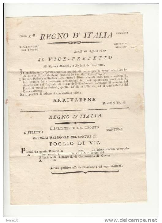 DB156-NAPOLEONICO 1810 Lettera Contenuto FOGLIO DI VIA GUARDIA NAZIONALE ASCOLI-CASTIGNANO-bollo LINEARE CARTELLA - Italien