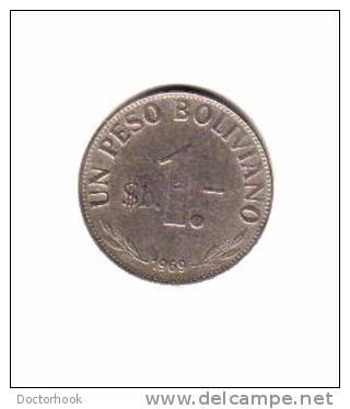 BOLIVIA   1  PESO  1969  (KM # 33) - Bolivia