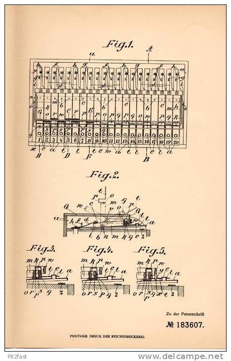 Original Patentschrift - Karl Lux In Ruhla I. Thür., 1906 , Tasteninstrument , Klavier , Piano  !!! - Musikinstrumente