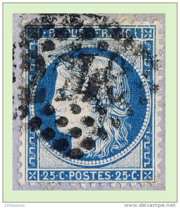 N°60B CÉRÈS IIIe RÉPUBLIQUE 1871 TYPE II - OBLITÉRÉ B - BLEU FONCÉ SUR LETTRE D'ORLÉANS - - Postmark Collection (Covers)