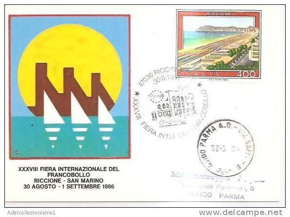 57234)cartolina Illustratoria Serie XXXVIII Fiera Internaz. Del Francobollo Con Un Valore + Annullo - Manifestazioni