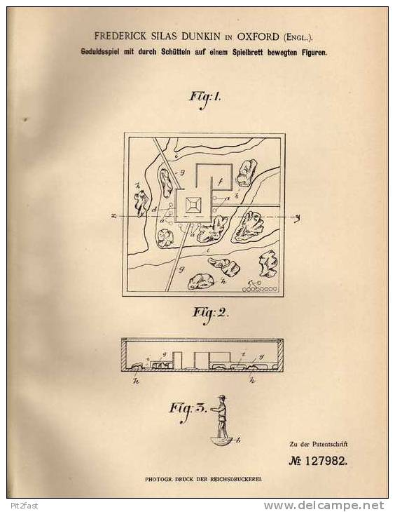 Original Patentschrift - F. Dunkin In Oxford , 1900 , Geduldsspiel Mit Spielbrett Und Figuren !!! - Toy Memorabilia