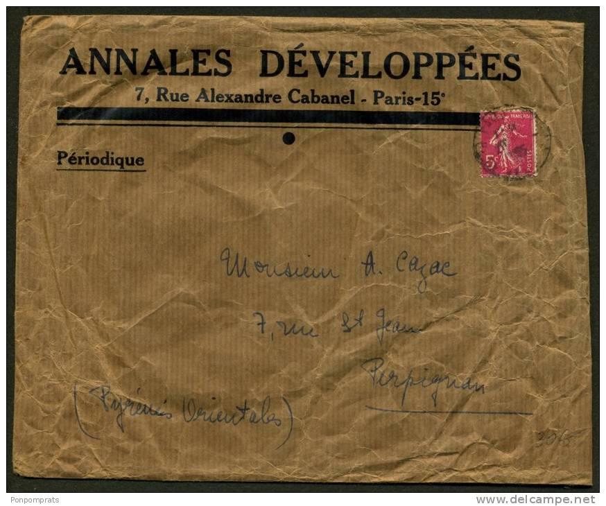 PARIS : Grande Enveloppe Pour IMPRIME Avec 5c SEMEUSE Rose Oblt Type 04 De PARIS (RARE SEUL SUR LETTRE!!) - Marcophilie (Lettres)