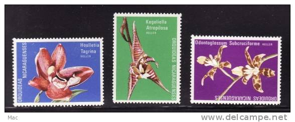 Nicaragua - Unlisted 3 Different ORCHIDS Without Denomination - Essays?  F-VF Mint NH ** - Cinderellas