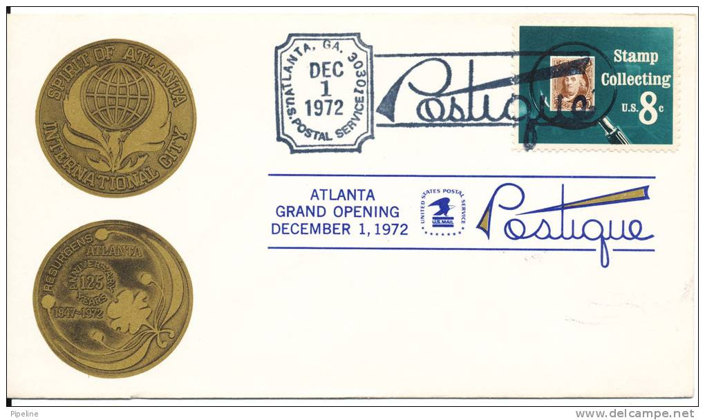 USA Cover Special Cancel Atlanta Grand Opening 1-12-1972 With Cachet - Enveloppes évenementielles