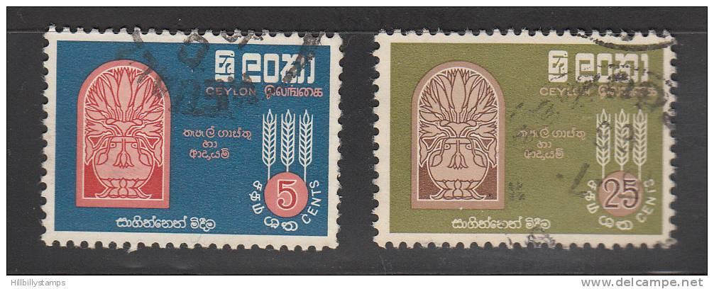 Ceylon  Scott No 366-67 Used   Year 1963 - Sri Lanka (Ceylon) (1948-...)
