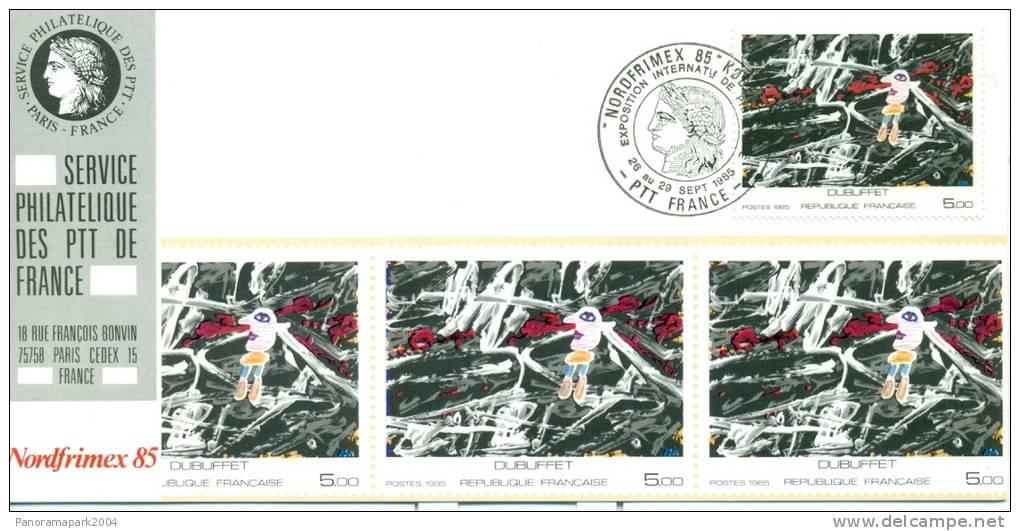 018 Carte Officielle Exposition Internationale Exhibition Nordfrimex 1985 France Tableau Kunst Art Dubuffet - Esposizioni Filateliche