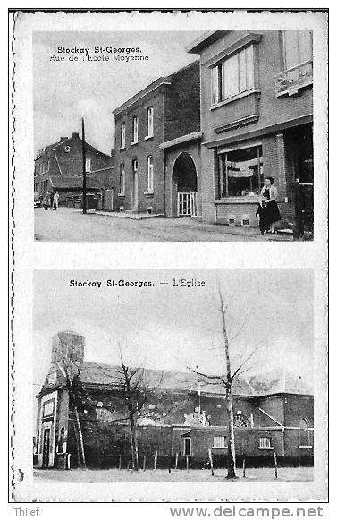 Stockay 6: Rue De L'Ecole Moyenne. L'Eglise ( Carte 2 Vues) - Saint-Georges-sur-Meuse