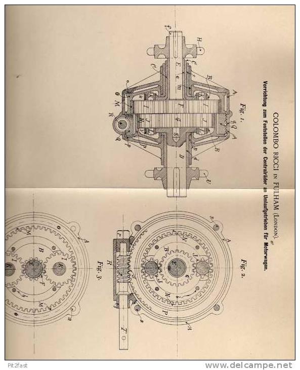 Original Patentschrift - C. Ricci In Fulham , 1900 , Getriebe Für Motorwagen , Automobile !!! - Cars
