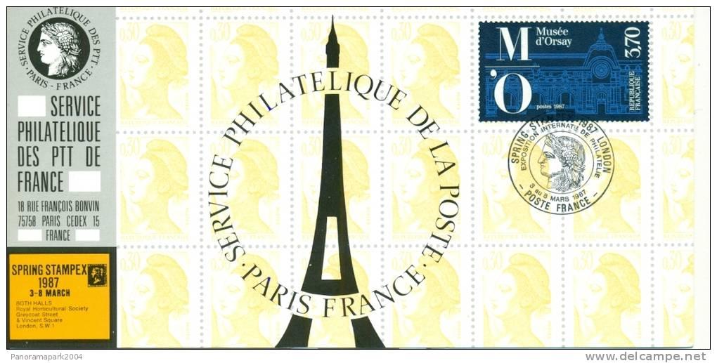 037 Carte Officielle Exposition Internationale Exhibition Stampex London 1987 France FDC Musée D'Orsay Paris Tour Eiffel - Esposizioni Filateliche