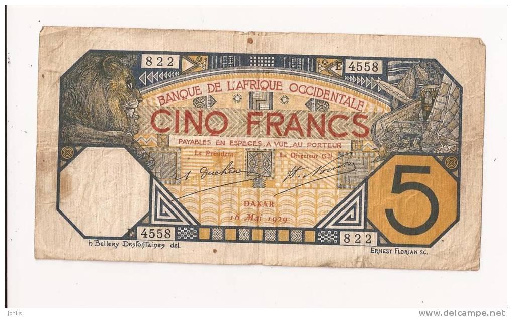 AFRIQUE OCCIDENTALE 5 FRANCS 1929 - Andere