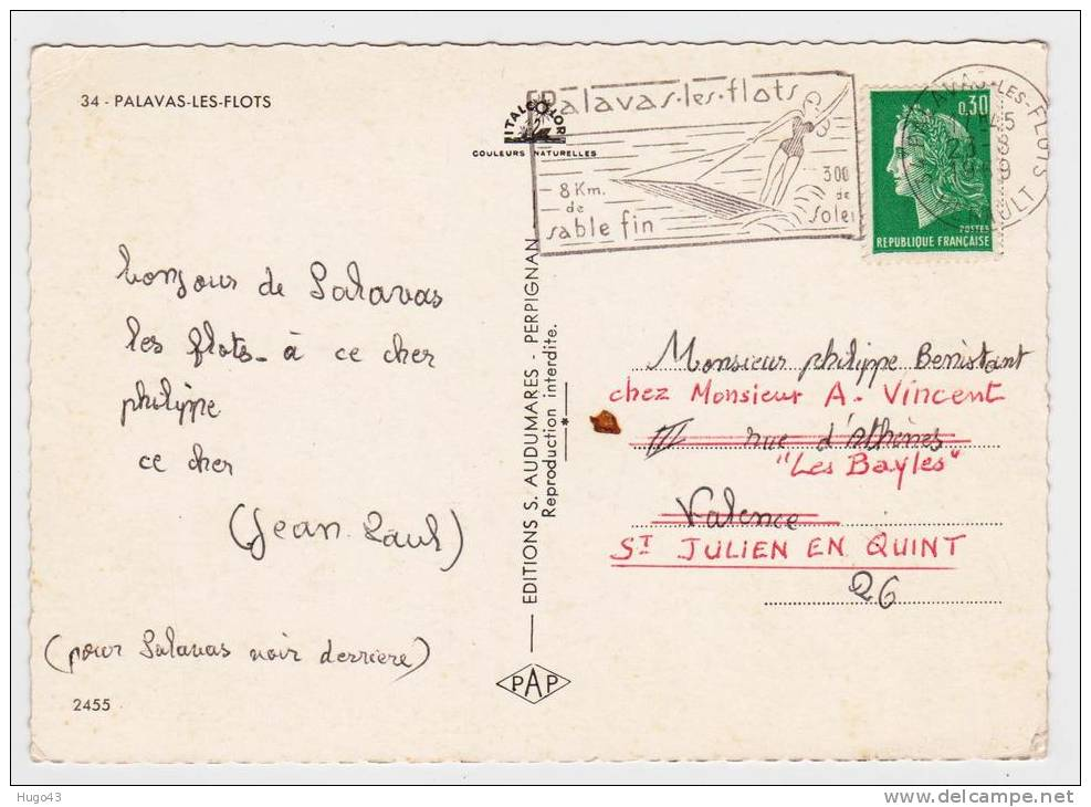 (RECTO/VERSO) PALAVAS LES FLOTS EN 1969 - MULTIVUES AVEC BELLE FLAMME POSTALE - Palavas Les Flots