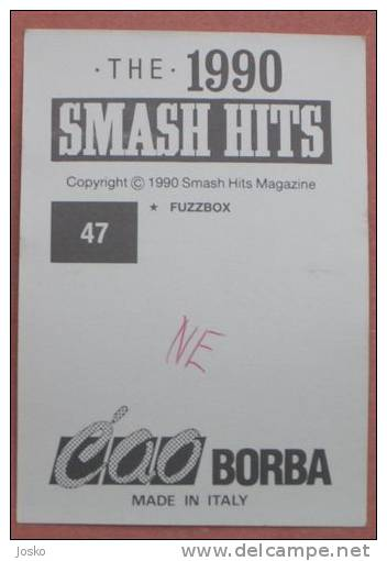FUZZBOX ( Fuzz Box ) Pop-music Group ( Yugoslavian Rare Collectiable Card - Sticker Smash Hits ) * Musique Musica Musik - Stickers
