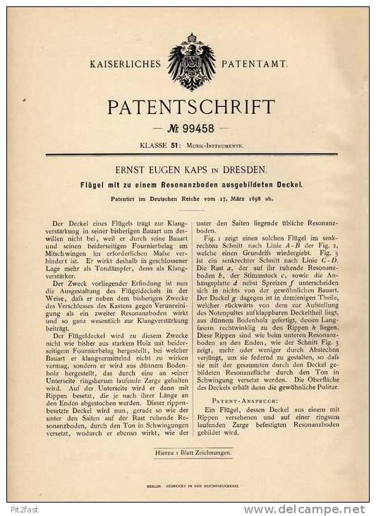 Original Patentschrift - Flügel Mit Resonanzboden , 1898 , E. Kaps In Dresden , Piano , Klavier !!! - Musikinstrumente