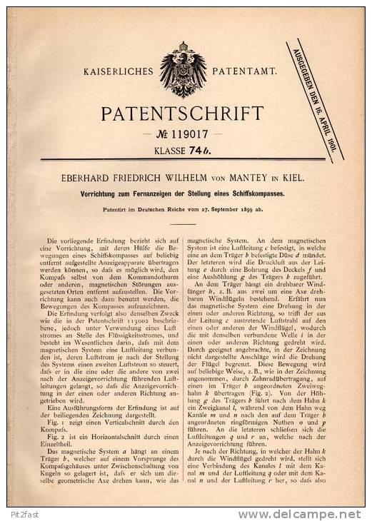 Original Patentschrift - E. Von Mantey In Kiel , 1899 , Kompass - Stellungsanzeiger , Kompaß !!! - Technics & Instruments