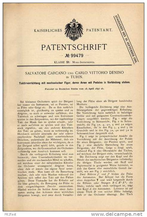 Original Patentschrift - Taktirapparat , Dirigent , Taktstock , 1897 , C. Denino In Turin , Konzert , Orchester !!! - Musikinstrumente