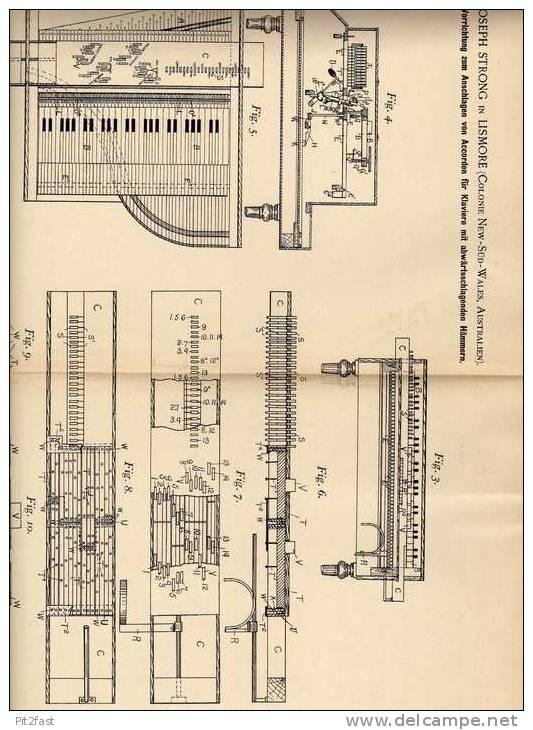 Original Patentschrift - J. Strong In Lismore , New South Wales , 1896 , Accorde Für Klavier , Piano !!! - Musikinstrumente