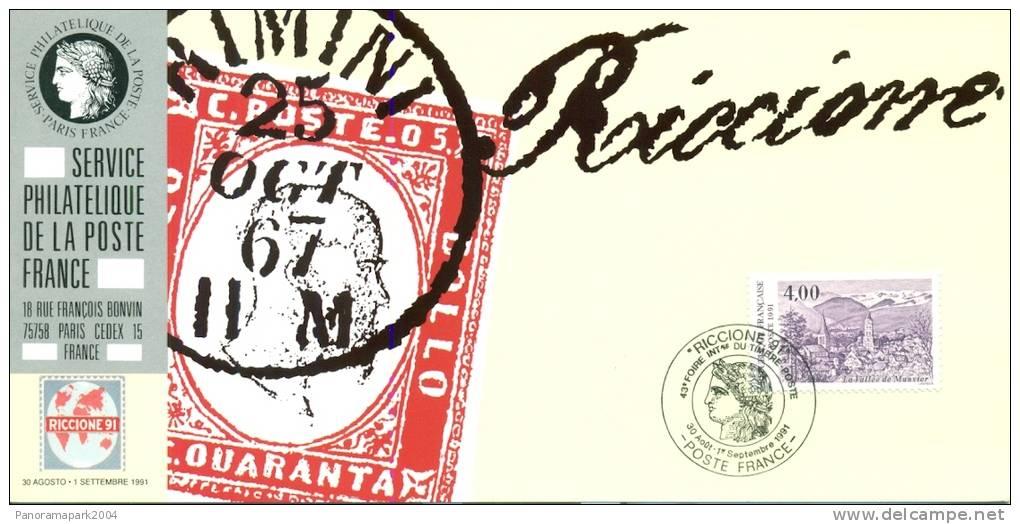 077 Carte Officielle Exposition Internationale Exhibition Riccione 1991 France FDC Old Stamp Vallée De Munster Alsace - Esposizioni Filateliche