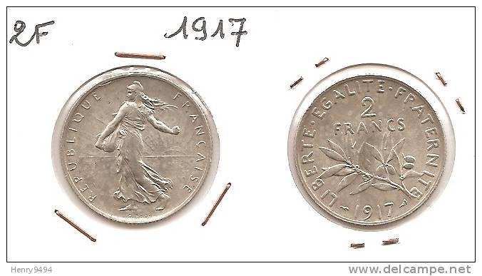 Lot Pièce 2 Francs Semeuse Argent SUP 1917 - I. 2 Francos