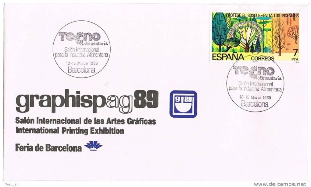 Carta Barcelona 1989. Salon Artes Graficas. Graphispag 89 - 1931-Hoy: 2ª República - ... Juan Carlos I