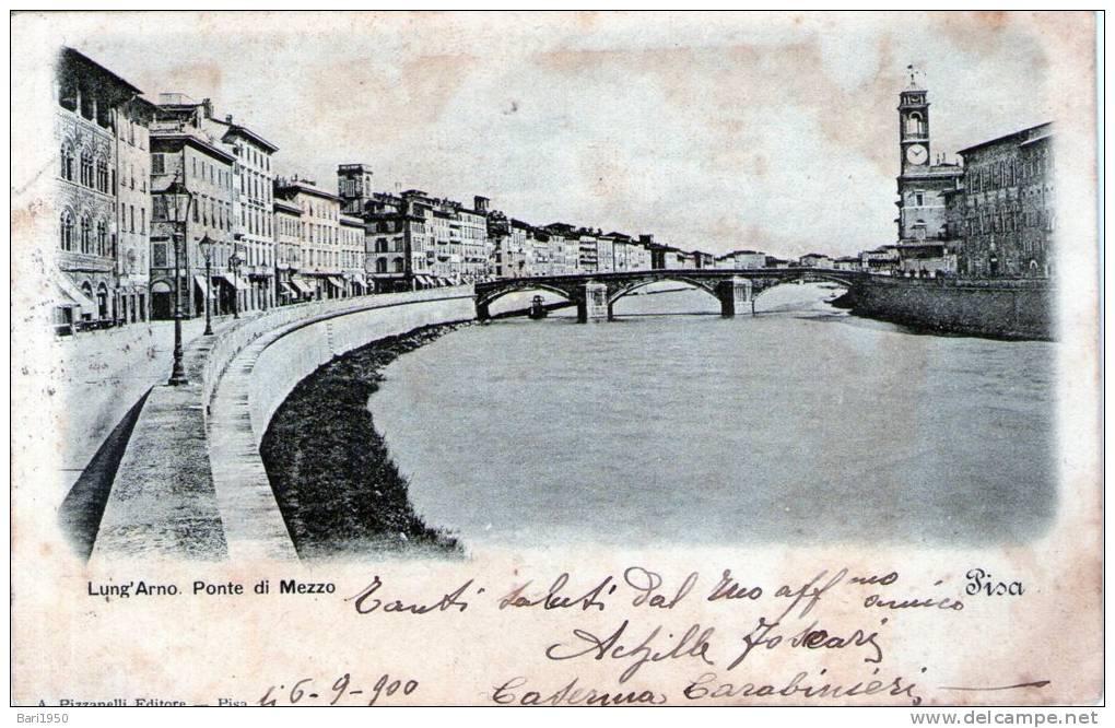 "Cartolina D´epoca     "" PISA - Lung´Arno - Ponte Di Mezzo "" - Pisa"