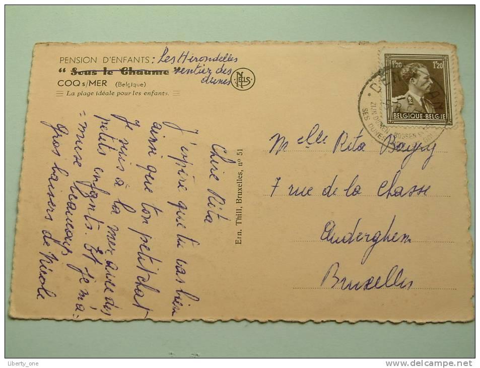 """....... Pension D'Enfants """" Sous Le Chaume """" / Anno 1954 ( Zie Foto´s Voor Details ) ! - De Haan"""