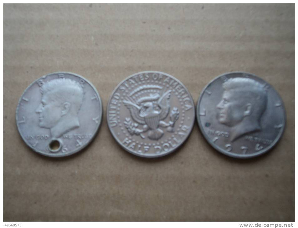 U.S.A. -  HALF DOLLARO ARGENTO 1964 CON FORO  -  HALF DOLLARO NI/CU 1972 E 1974 - - Federal Issues