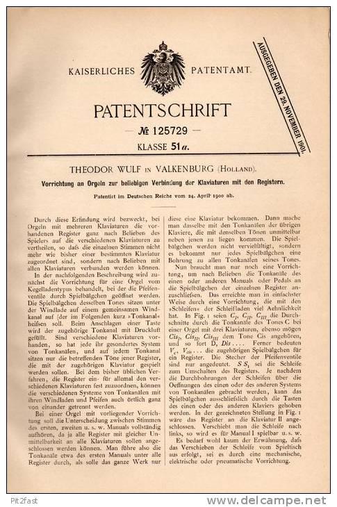Original Patentschrift - T. Wulf In Valkenburg , 1900 , Orgel - Klavier Verbindung , Piano !!! - Musikinstrumente