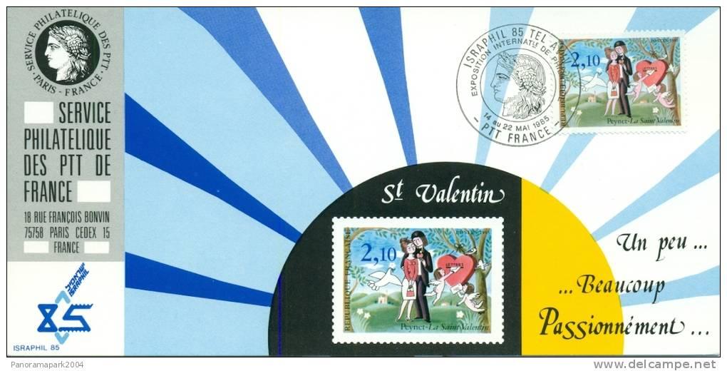 014 Carte Officielle Exposition Internationale Exhibition ISRAPHIL 1985 France Les Amoureux De Peynet St Valentin - Esposizioni Filateliche