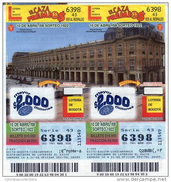 Lote 719, Colombia, Loteria, Lottery, Alcaldia Mayor De Bogota - Billetes De Lotería