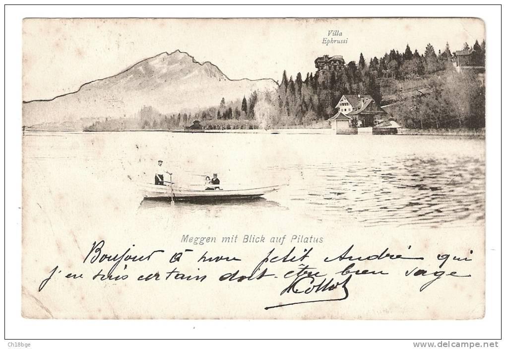 CPA - Suisse : Canton De Lucerne : Pilate : Meggen Mit Blick Auf Pilatus : Montagne,forêt ,  Barque Sur Lac, Maison - LU Lucerne