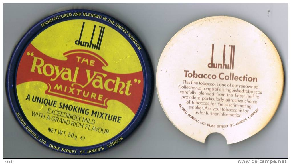 """Italia Antico Contenitore Di Tabacco Vuoto DUNHILL (completo) """"The Royal Yacht"""" In Metallo Con Confezione Interna - Contenitori Di Tabacco (vuoti)"""
