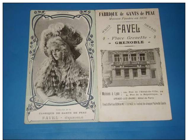 Carte Publicitaire GRENOBLE Fabrique De Gants De Peau Maison FAVEL 4 Place Grenette - Grenoble