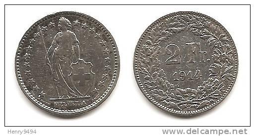 Lot Pièce 2 Francs Suisse Argent 1914 - Schweiz