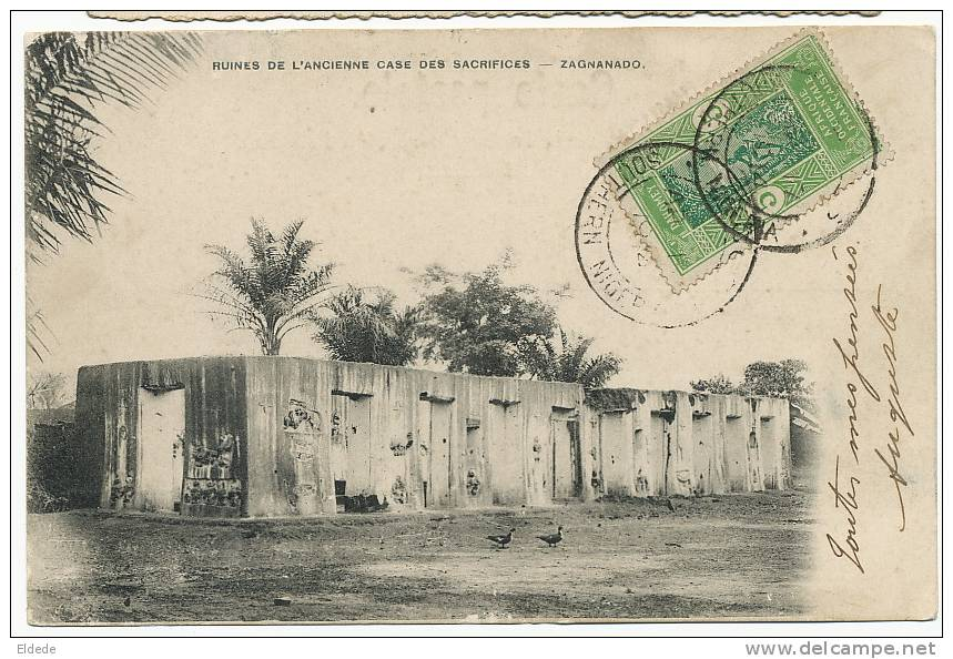 Rare Postally Used South Nigeria On Dahomey Stamps To France Case Sacrifice Zagnanado - Nigeria