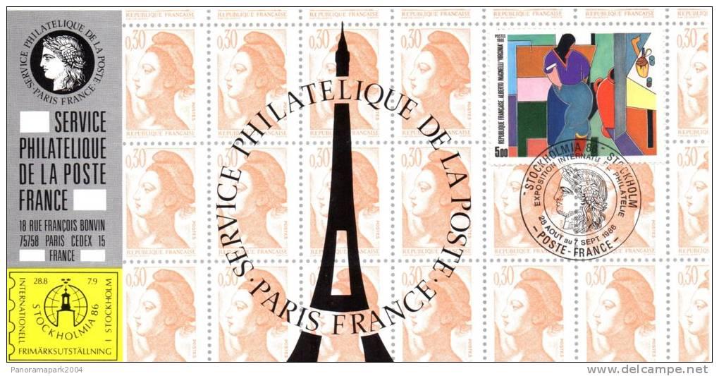 029 Carte Officielle Exposition Internationale Exhibition Stockholmia 1986 France FDC Tableau Art Alberto Magnelli - Esposizioni Filateliche