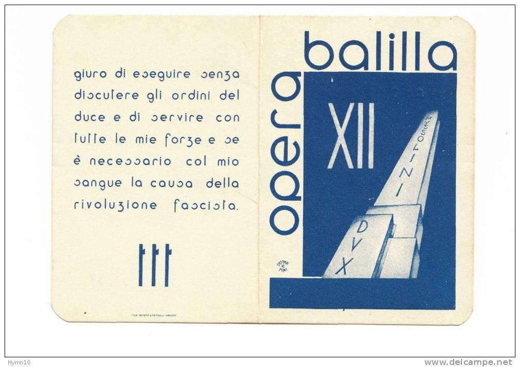 DB495-TESSERA OPERA NAZIONALE BALILLA N.0287082-ANNOXII° - Andere Sammlungen