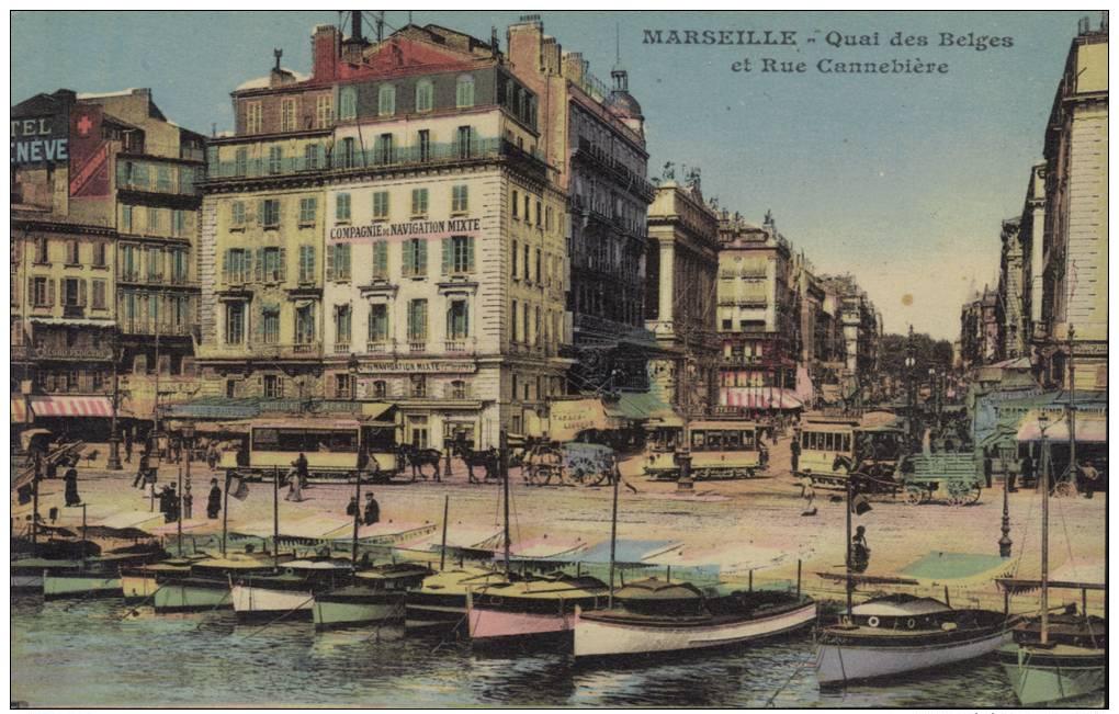 CPA Marseille: La Cannebiére. - Canebière, Stadtzentrum