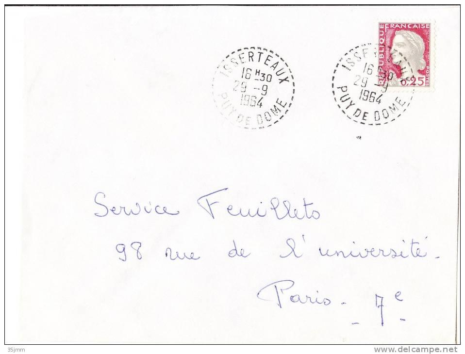 Bureau De Distribution:  Issertaux Puy De Dome  29/9/64 - Marcophilie (Lettres)