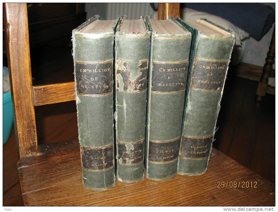 Un Million De Recettes - Encyclopédie D´Economie Domestique En 4 Volumes - Cuisine (b100) 4 Scans - Encyclopedieën