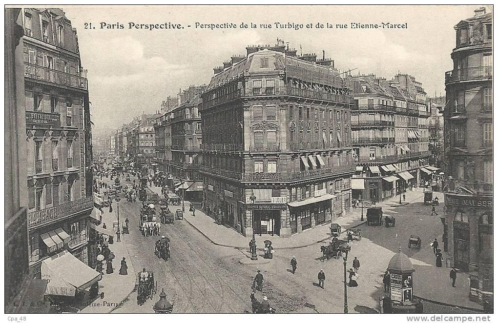 Paris- Perspective De La Rue Turbigo Et De La Rue Etienne-Marcel. - Panoramic Views