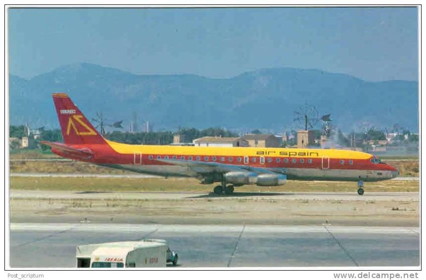 Thème - Transport - Avion -  Michel Moskal Postacards N° 012 - 87986-D - Air Spain - Mac Donnell Douglas DC 8 21 - 1946-....: Moderne