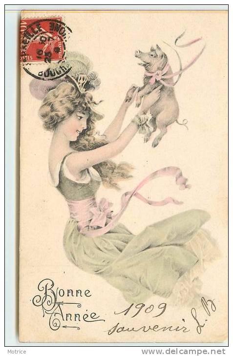 BONNE ANNE  -  Femme Et Cochon Dans Le Gout De Vienne. - Cochons